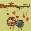 Vector de stock : Owl love wedding card background