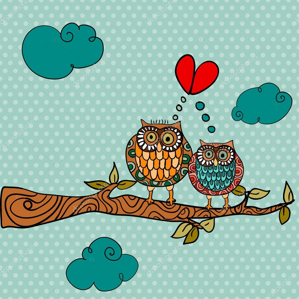 Valentine day owl couple in love greeting card background. Vector illustration layered for easy manipulation and custom coloring.  Stock Vector #20071435