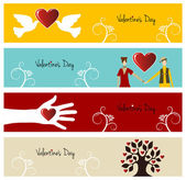 Valentine love banner set — Stock Vector