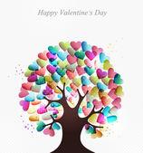 árbol de concepto de corazones de amor — Vector de stock