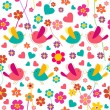 Spring bird and flower pattern — Stock Vector