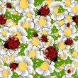Spring beetle and flower pattern — Stock Vector