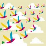 Transparent birds pattern — Stock Vector