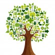 Stock Vector: Go Green icons concept tree