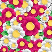 Spring vibrant flowers pattern — Stock Vector