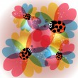 Colorful transparency flowers and ladybug — Stockvectorbeeld