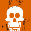 Halloween Skeleton on Black Background. — Stock Vector #2146164