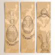 Vintage Easter bunny banner set — Stock Vector