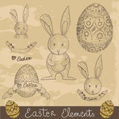 Vintage Happy Easter elements set — Stock Vector