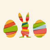 Diversity Easter bunny and eggs — Stock Vector
