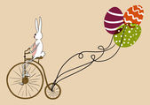 Vintage Easter bunny biking card — Stock Vector