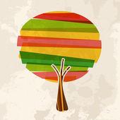 Multicolor single tree — Stock Vector