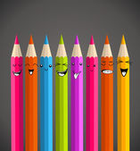 Colorful rainbow pencil funny cartoon — Stock Vector