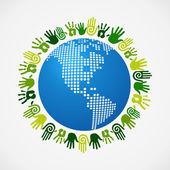 Go green diversity human hand American map — Stock Vector