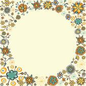 Spring vintage flower circle card background — Stock Vector