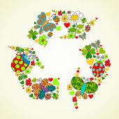 Springtime green recycle icon — Stock Vector