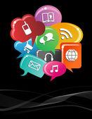 Social media bubble speech background — Stock Vector