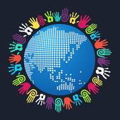 Diversity human hand Asian world — Stock Vector