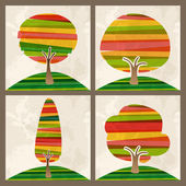 Multicolor tree set — Stock Vector