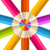 Colorful rainbow pencil circle — Stock Vector