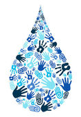 Save water diversity hand shape — Stock Vector