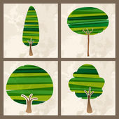 Green tree set — Stock Vector