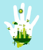 Go green city hand concept — Stock Vector