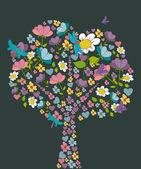 Spring tree flower shape — Stock Vector