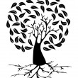 Young Tree with roots silhouette — Stock Vector