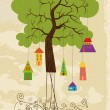 Cute colorful tree bird house — 图库矢量图片