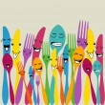 Colorful silverware set — Stock Vector