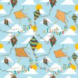 Flying kites seamless pattern — Stock Vector