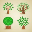 Colorful green tree set — Imagen vectorial