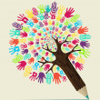 Diversity hand concept pencil tree — Stock Vector