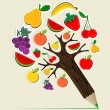 Healthy food concept pencil tree — Vector de stock