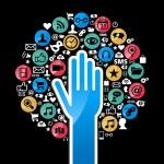 Social media networks hand concept tree — Stock Vector