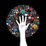 Social media networks hand concept tree — Stock Vector #27642253