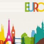 Skyline monument silhouette of Europe — Stock Vector