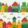 Cute multicolored city pattern — Stock Vector