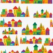 Cute town pattern — Stock Vector