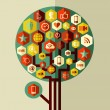 Colorful social network tree — Stock Vector
