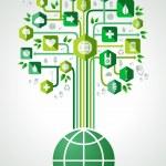 Green eco friendly planet tree — Stock Vector