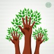 Green tree hands set — Stock Vector