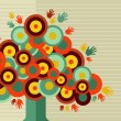 Colorful vintage hand tree design — Stock Vector