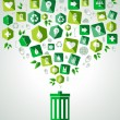 Green splash recycle bin — Stock Vector