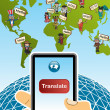 Stock Vector: Global translation app concept