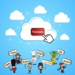 Cloud computing translate concept — Imagen vectorial