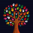 Multi social solidarity tree hands — Stock Vector