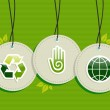 Hanging green recycle planet earth icons set — Stock Vector