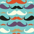 Old fashioned mustache seamless pattern — Stock Vector
